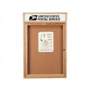 Enclosed Cork Board with Header (1-Door 3'x3')