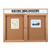 Enclosed Cork Board with Header (2 Door 4'x3')