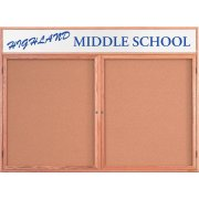 Enclosed Illumin Cork Board w/Header (2 Door 5'x3')