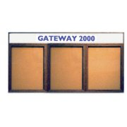 Enclosed Cork Board - 2 Door with Header (42