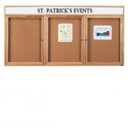 Enclosed Cork Board with Header (3 Door 6'x3')