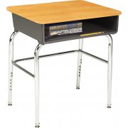 Adj. Height Open Front School Desk - WoodStone Top, U Brace