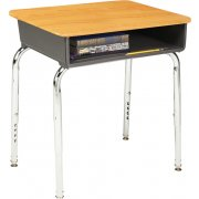 Adjustable Height Open Front School Desk - WoodStone Top