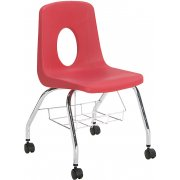 Poly Shell Classroom Chair -Casters, Bookrack (18