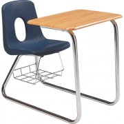 Sled Base Poly Combo Desk - WoodStone Top