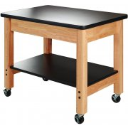 Mobile Demo Cart w/ Shelf - High Pressure Laminate Top
