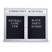 Enclosed Illuminated Letter Board w/Header (2-Door)