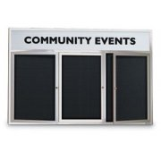 Enclosed Illuminated Letter Board w/Header (3-Door)