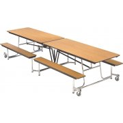 Mobile Cafeteria Table - Chrome Frame, Vinyl Edge, 8'