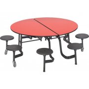 Mobile Round Cafeteria Table- Plywood, Dyna Edge, 8 Stools