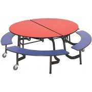 AMT Round Mobile Bench Cafeteria Table (60