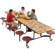 Mobile 16-Stool Cafeteria Table - 12ft, Dyna-Edge