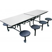 Mobile Cafeteria Table - Chrome, Dyna Rock Edge, 8 Stools (8')
