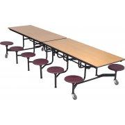Mobile 12-Stool Cafeteria Table Dyna-Edge,Plywood,Chrome