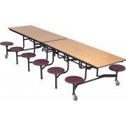 Mobile Cafeteria Table - 12 Stools (12')