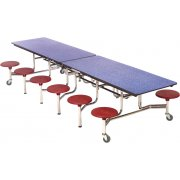 Mobile Cafeteria Table - Chrome, Dyna Edge, 12 Stools (12')