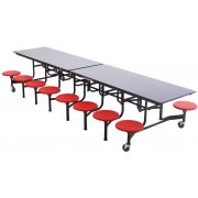 Mobile Cafeteria Table - Chrome, Dyna Edge, 16 Stools (12')