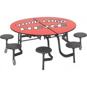 Mobile Round 8 Stool Table Dyna-Rock Edge Plywood Top