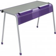 "A&D K-Leg Double School Desk w Tablet Book Cradle - 60""x20"""