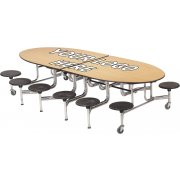 Amtab Mobile Oval Cafeteria Table-Plywood, Chrome, 12 Stools