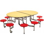 Amtab Mobile Oval Cafeteria Table- Plywood, Chrome, 10 Stool