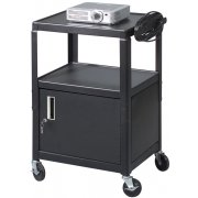 All-Steel Adjustable AV Cart w/ Power Strip and Cabinet