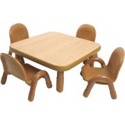 Square Baseline  Table w/4 chairs  (Natural/Caramel) (30