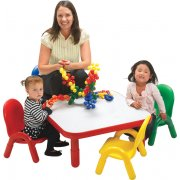 Square Baseline Table w/4 Assorted Chairs (30
