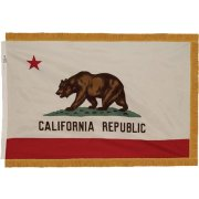 Indoor California State Flag with Pole Hem and Fringe (3x5')