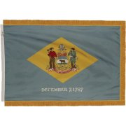 Indoor Delaware State Flag with Pole Hem and Fringe (3x5')
