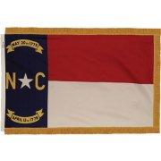 Indoor North Carolina State Flag w/ Pole Hem and Fringe (3x5')