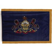 Indoor Pennsylvania State Flag with Pole Hem and Fringe (3x5')
