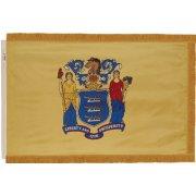 Indoor NJ State Flag with Pole Hem and Fringe (3x5')