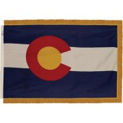 Indoor Colorado State Flag with Pole Hem and Fringe (3x5')