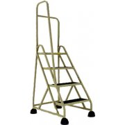 Stop-Step Aluminum Safety Ladder w/Left Handrail, 4 Steps