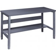 Adj. Height Steel Workbench with Shelf - Steel Top (30
