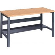 Adj. Height Steel Workbench with Shelf - Maple Top (30
