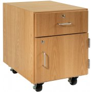 Wooden Mobile Pedestal - 1 Drawer, Right-Hinged Cabinet (30
