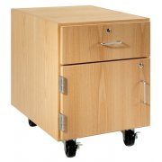 Wooden Mobile Pedestal - 1 Drawer, Left-Hinged Cabinet (30
