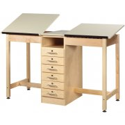 Twin Drafting Table - 6 Drawers