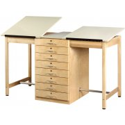 Twin Drafting Table -  8 Drawers