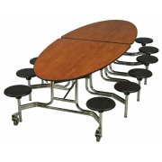 Mobile Oval Cafeteria Table - 12 Stools, Chrome Frame