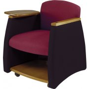 Two-Tone Arm Chair w/Wood Finish & Storage Compartment