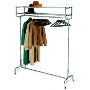 Portable Coat Rack with Double Hat Shelf and Hangers (4')