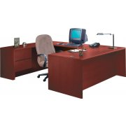 HON U-Shaped Office Desk w/Left Pedestal Credenza