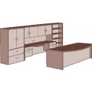 Executive Office Desk with Storage Wall