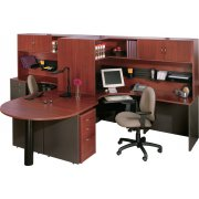 Hyperwork Twin Curved L-Desk with Hutches