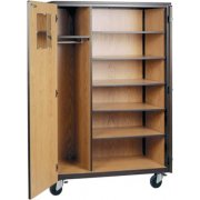Locking Mobile Wardrobe Storage Closet- 5 Adj Shelves, 66