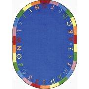 Rainbow Alphabet Oval Classroom Rug (5'4