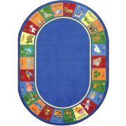 Animal Phonics Oval Classroom Rug (10'9